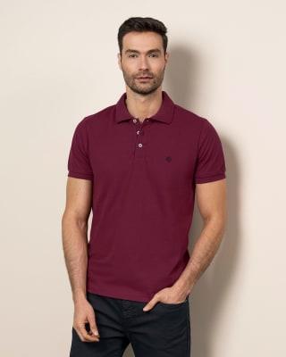 camiseta tipo polo con estampado en el frente en poliester y algodon-320- Vinotinto-MainImage