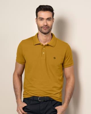 camiseta tipo polo con estampado en el frente en poliester y algodon-847- Mostaza-MainImage