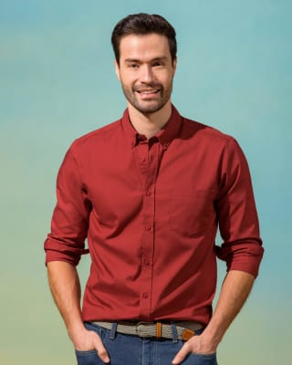 mens long sleeve button down - cotton-179- Terracota-MainImage