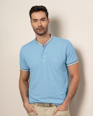 camiseta henley con bordado en frente silueta semiajustada-022- Azul Claro-MainImage