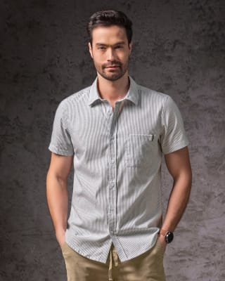 camisa manga corta con bolsillo con hiladilla decorativa-034- Rayas-MainImage