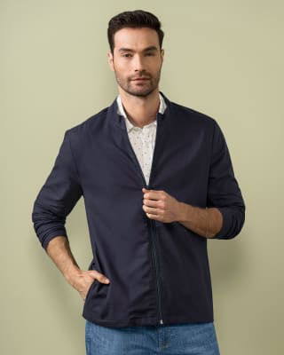 mens bomber-style jacket - zip front and pockets-457- Azul Oscuro-MainImage
