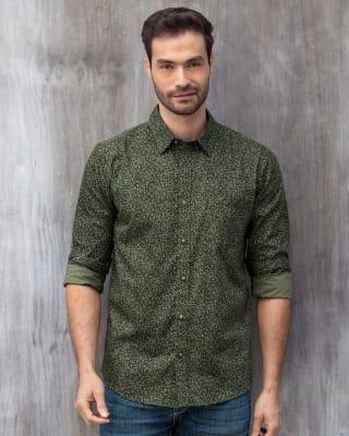camisa estampada manga larga con bolsillo funcional-061- Verde Estampado-MainImage