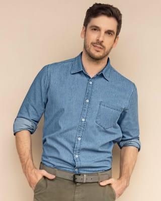 camisa manga larga en indigo liviano para hombre con bolsillo parche delantero-022- Azul Claro-MainImage