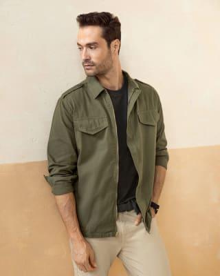 chaqueta con charreteras en hombros para hombre-617- Verde Militar-MainImage