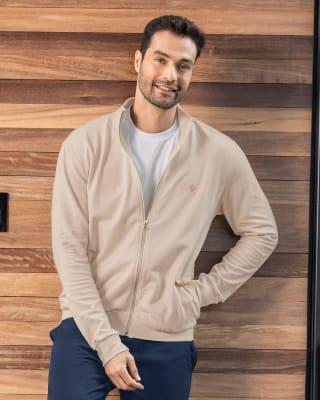 buzo manga larga para hombre con cierre frontal y bolsillos funcionales-805- Kaky-MainImage