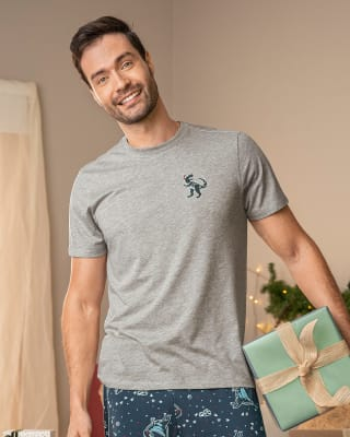 mens short sleeve tee with glow-in-the-dark graphic-717- Gris Jaspe-MainImage