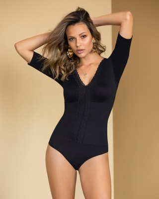 hipster bodysuit with lace neckline-700- Black-MainImage