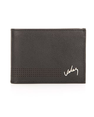 billetera masculina corte clasico y detalles perforados - velez-700- Black-MainImage