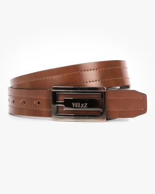 cinturon doble faz masculino hebilla metalica - velez-802- Café Claro-MainImage