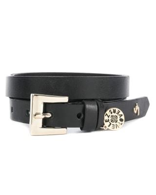 cinturon unifaz femenino con evocacion retro en hebilla - velez-700- Black-MainImage