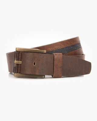 cinturon unifaz masculino con linea en contraste de color - velez-835- Café-MainImage