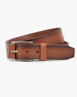cinturon unifaz masculino hebilla con inserto en cuero - velez-802- Miel-MainImage