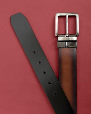 cinturon doble faz masculino con hebilla con textura - velez-802- Café Claro-MainImage