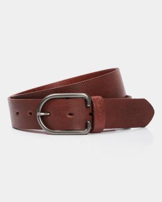 cinturon unifaz masculino con hebilla redonda - velez-801- Café Medio-MainImage