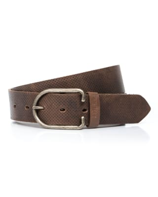 cinturon unifaz masculino con hebilla redonda - velez-835- Café-MainImage