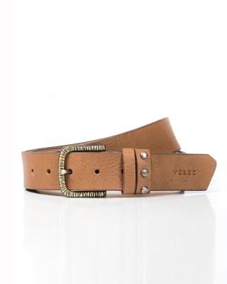 cinturon femenino velez con hebilla vintage grabada y taches decorativos-802- Miel-MainImage
