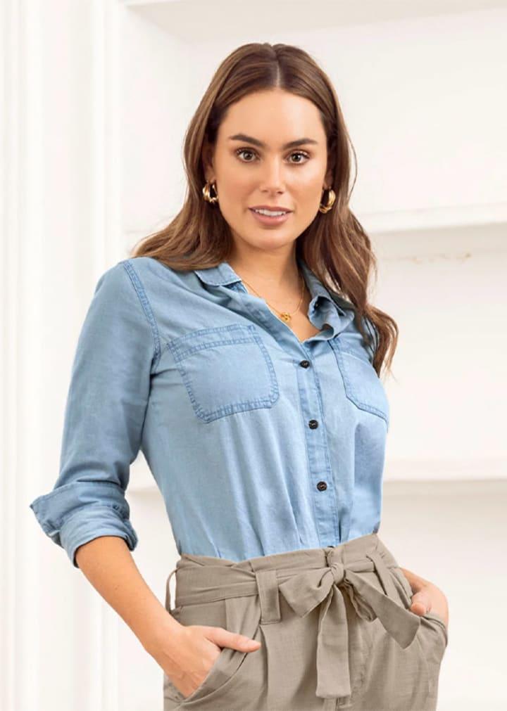 Blusa manga larga índigo 100% algodón