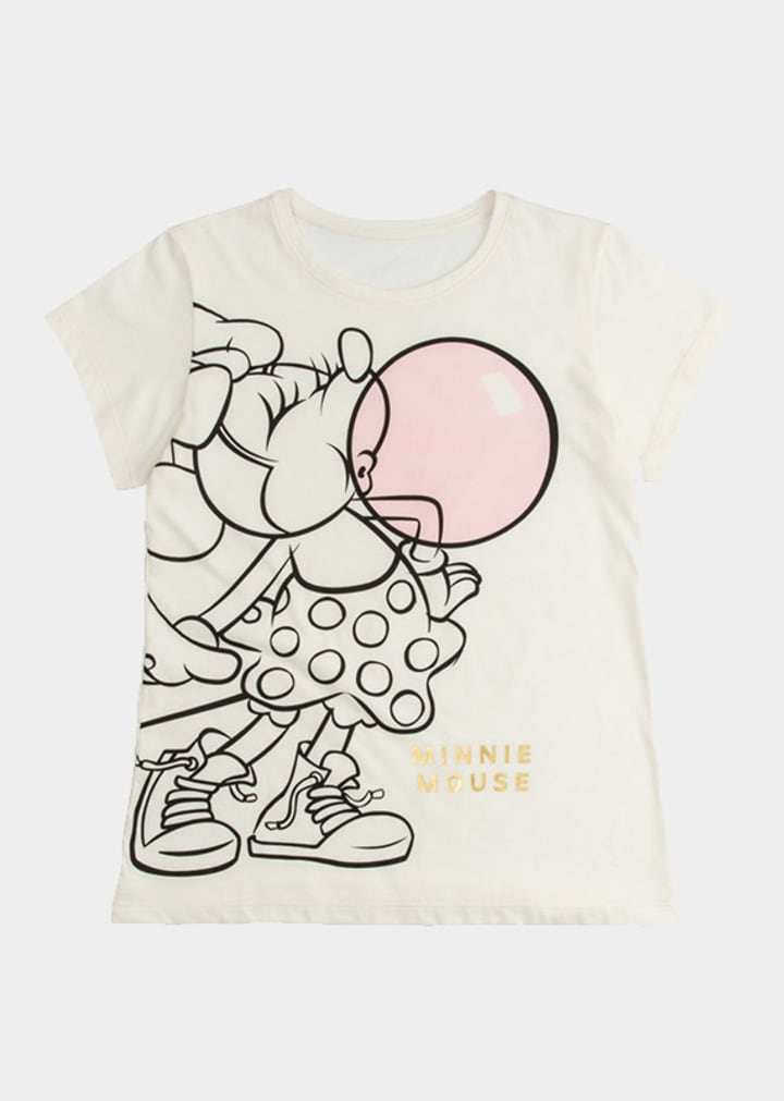 Camiseta juvenil Minnie estampado dorado