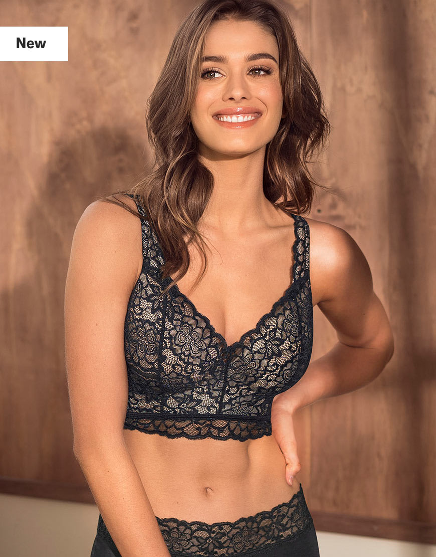 Luxe Lace Underwire Smoothing Bustier Black Leonisa