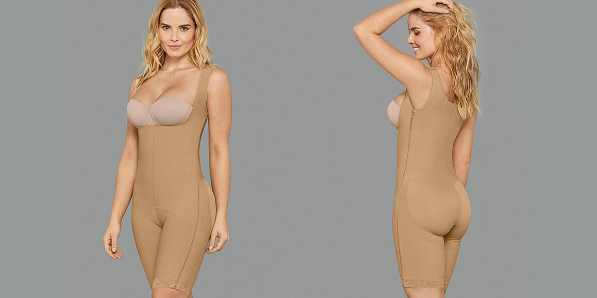 Woman wearing tummy tuck compression garment - Leonisa
