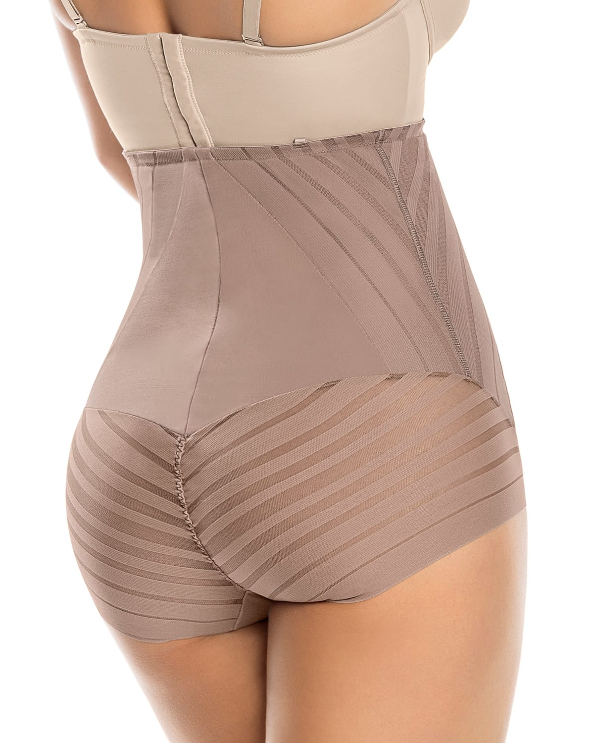 lace stripe high-waisted sculpting body shaper--MainImage