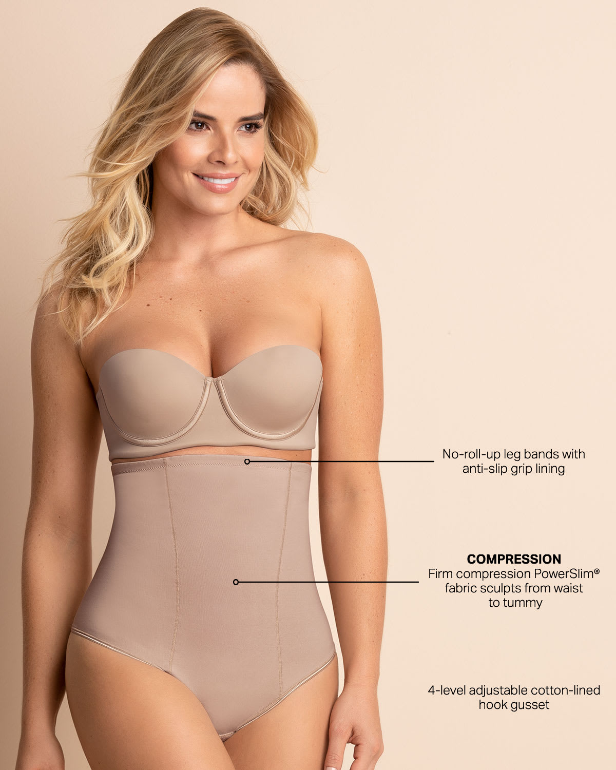 83e60bddff8 Strapless Tummy Sculpting Body Shaper with Thong | Leonisa