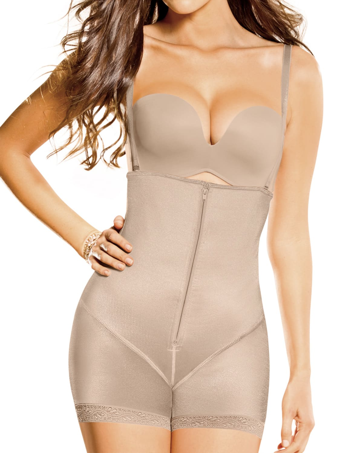 latex strapless bodysuit with booty booster--MainImage
