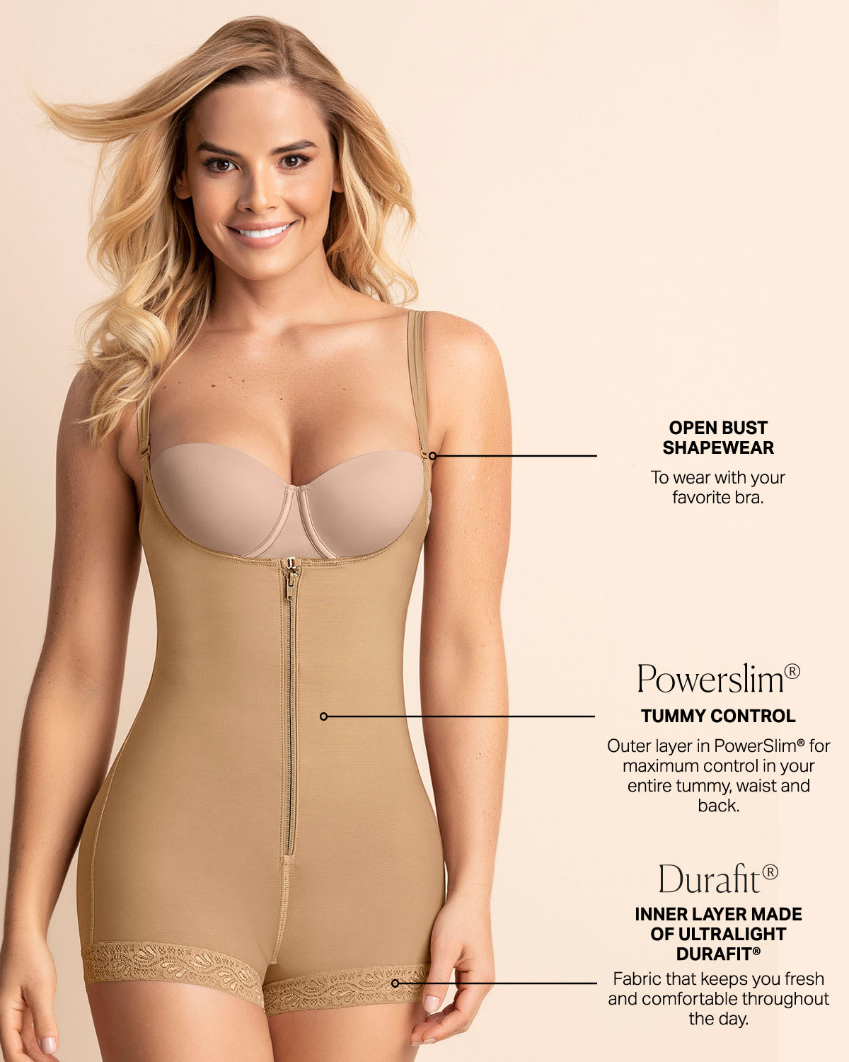 fb062e64fd2 Open Bust Body Shaper Boyshort with Firm Tummy Compression | Leonisa