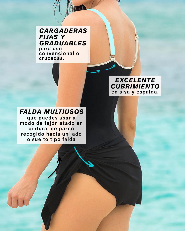 07da0152e7fd Vestido de Baño Entero con Falda Multiusos y Control de Abdomen ...