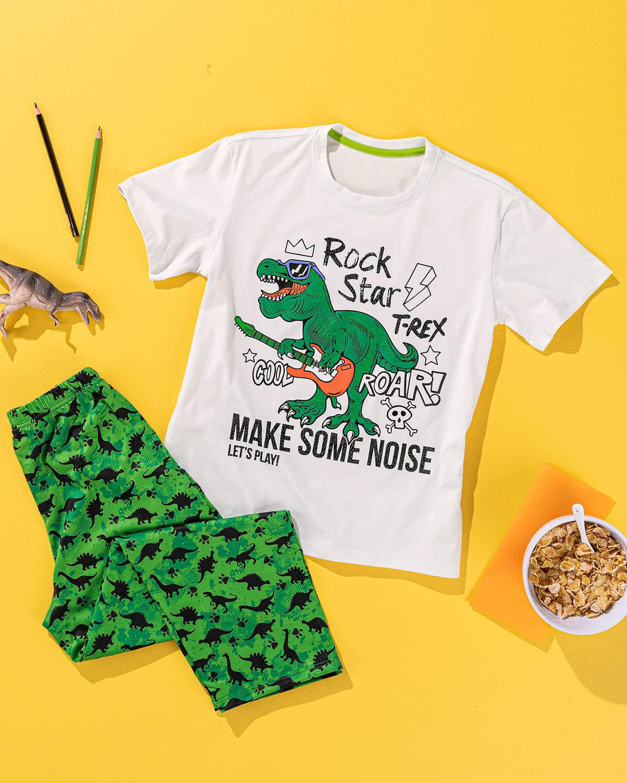 Pijama Para Nino Camiseta Pantalon Largo Con Estampado En Textura Piel De Dinosaurio Leonisa Colombia