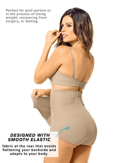 high-waisted firm tummy compression postpartum knicker with adjustable belly wrap--MainImage
