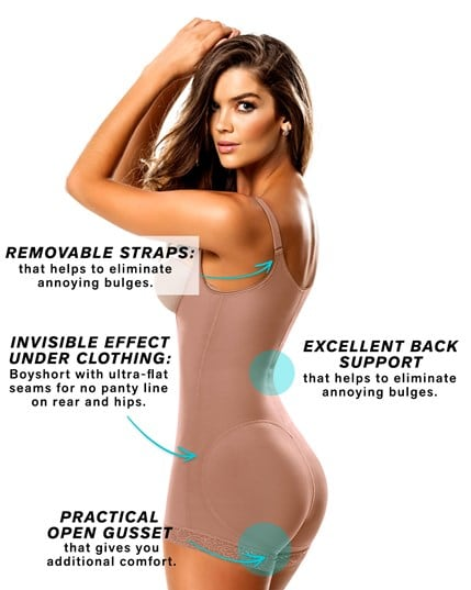 slimming braless body shaper in boyshort--MainImage