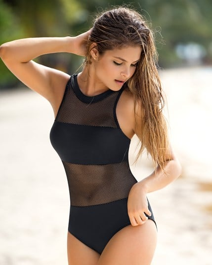 trendy mesh one-piece bathing suit--MainImage