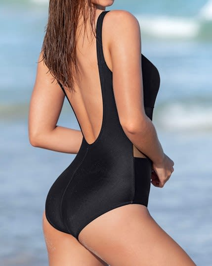sophisticated mesh cutout one piece swimsuit with lower tummy control--MainImage