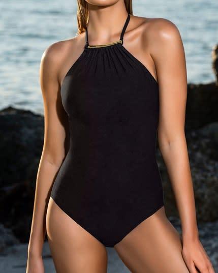 vestido de bano entero con control de abdomen high neck--MainImage