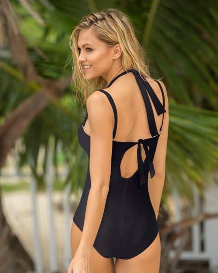 vestido de bano entero estilo strapless reductor de abdomen--ImagenPrincipal