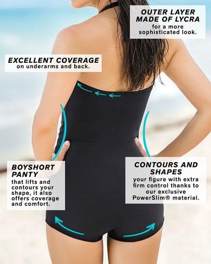 vestido de bano entero con falda short y control de abdomen--MainImage