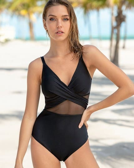 cross-front one-piece shaping swimsuit--MainImage