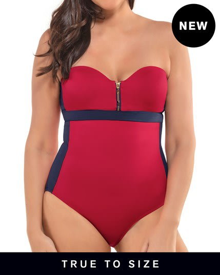 zip-front color block sculpting one-piece swimsuit--MainImage