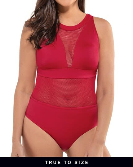 mesh triangle top one-piece slimming shiny swimsuit--MainImage