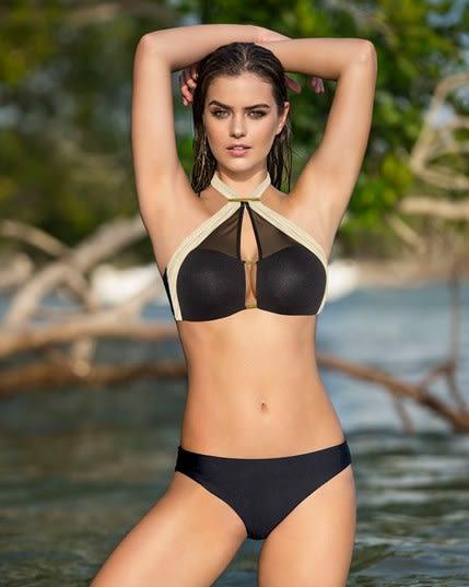 bikini bandeau con escote profundo y panty hipster--MainImage