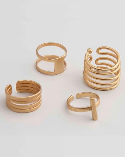 set x 4 anillos con bano de oro--MainImage