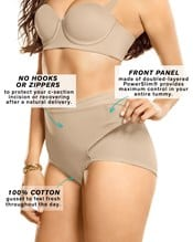 firm compression postpartum panty with adjustable belly wrap--AlternateView2