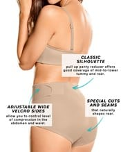 firm compression postpartum panty with adjustable belly wrap--AlternateView3