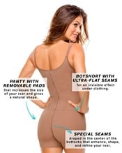 butt lifter tummy control body shaper boyshort with removable pads--AlternateView3