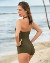 one-piece halter shirred front sculpting bathing suit--AlternateView1