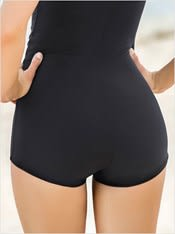 one piece boyshort swimsuit with tummy control--AlternateView4