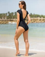 glamorous one piece swimsuit with deep plunging v neck--AlternateView1