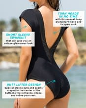 glamorous one piece swimsuit with deep plunging v neck--AlternateView3
